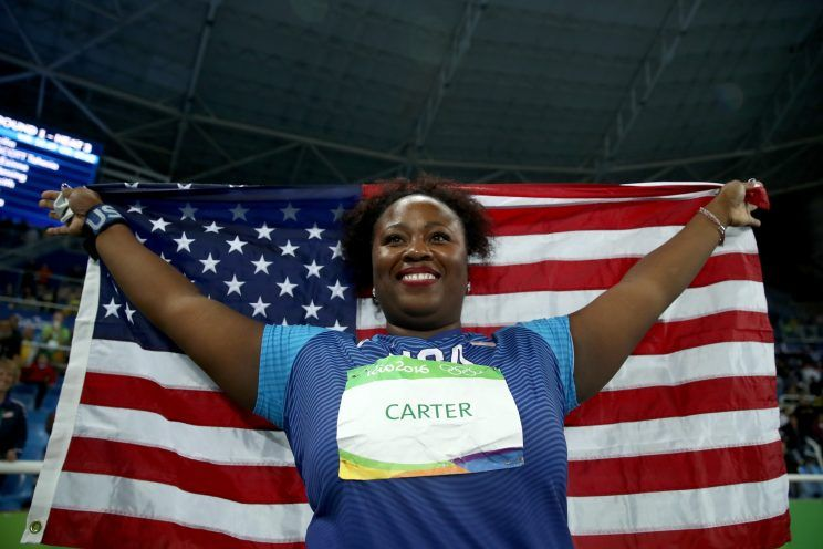 Carter's Gold in the women's shotput is a first for the U.S.